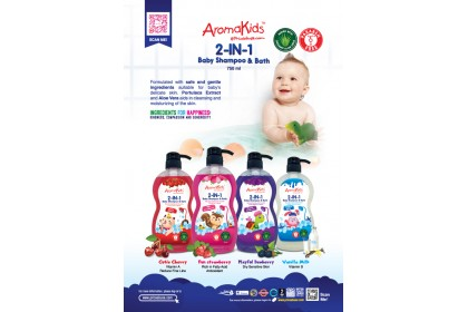 AROMAKIDS FUN STRAWBERRY - 2 IN 1 BABY SHAMPOO & BATH 750ML