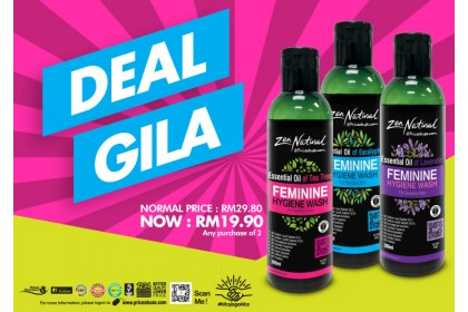 GILA DEAL - 2 X ZEN NATURAL (ZN) ESSENTIAL OIL FEMININE HYGIENE WASH 300ML