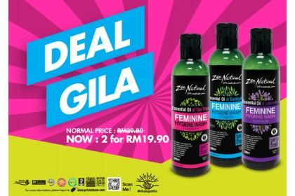 GILA DEAL - 2 X ZEN NATURAL (ZN) ESSENTIAL OIL FEMININE HYGIENE WASH 300ML