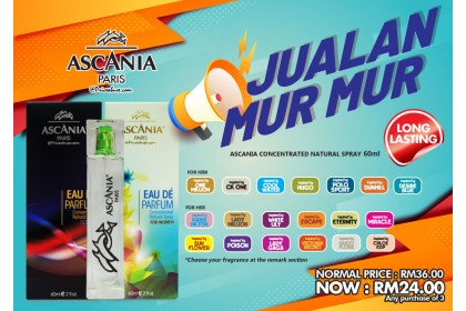 JUALAN MUR MUR  - 3 X ASCANIA CONCENTRATED NATURAL PERFUME SPRAY INSPIRED BY 60ML